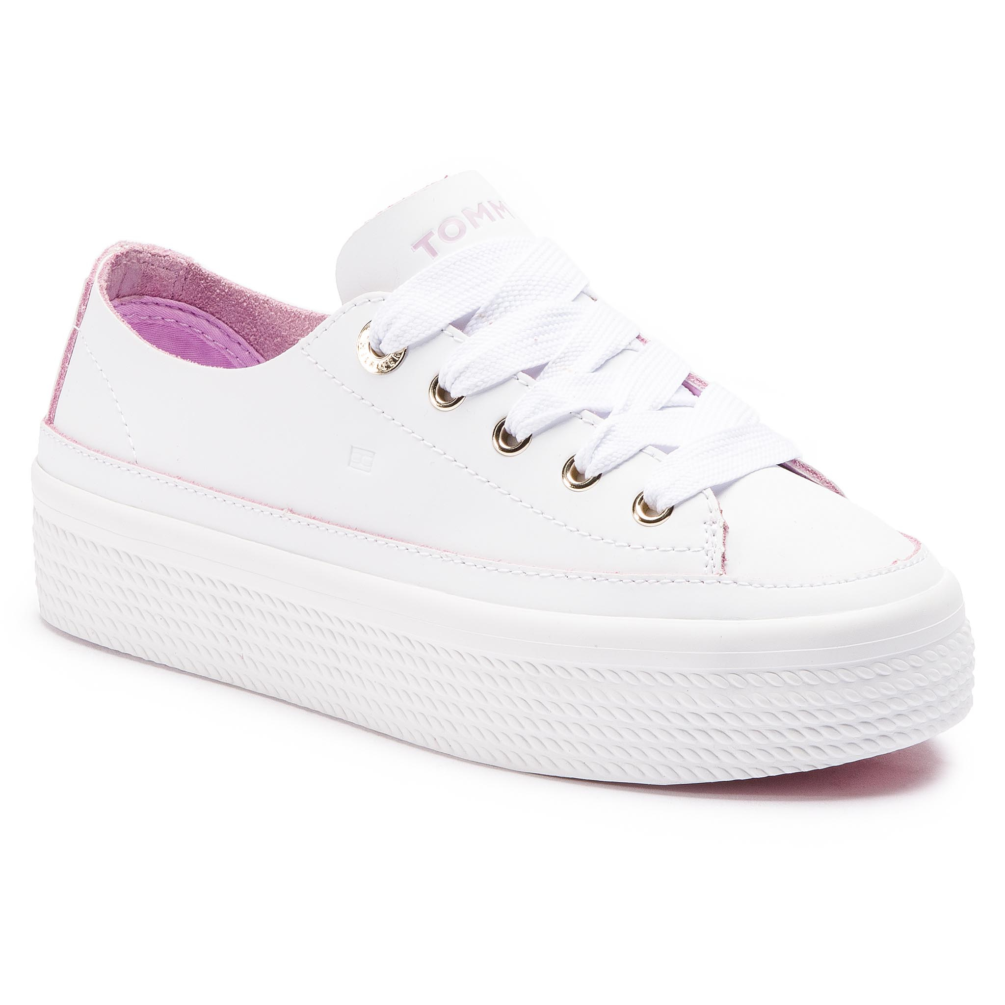 Sneakers TOMMY HILFIGER - Leather Flatform Sneaker FW0FW04089 White 100