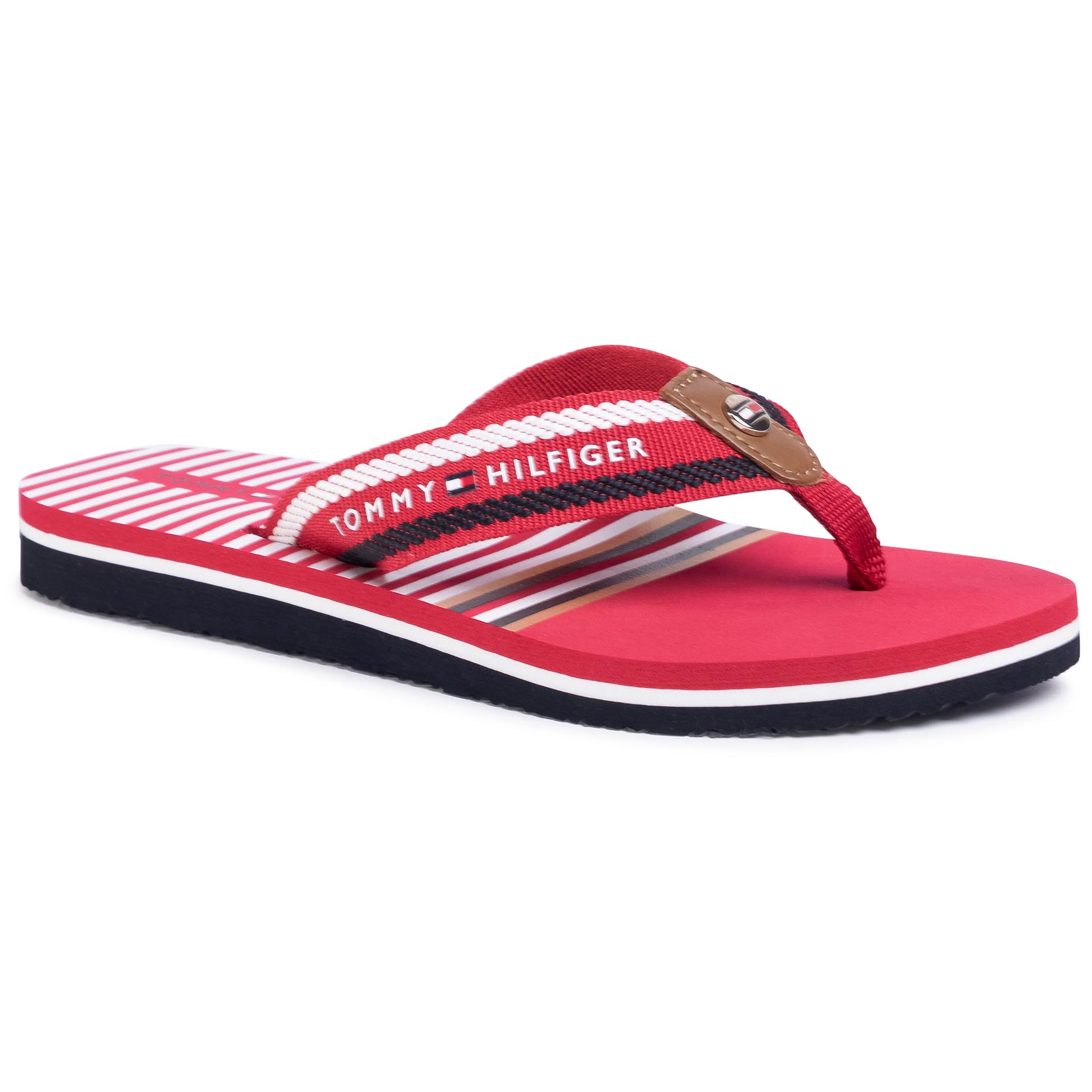 Chanclas TOMMY HILFIGER - Stripy Flap Beach Sandal FW0FW04799 Primary Red XLG