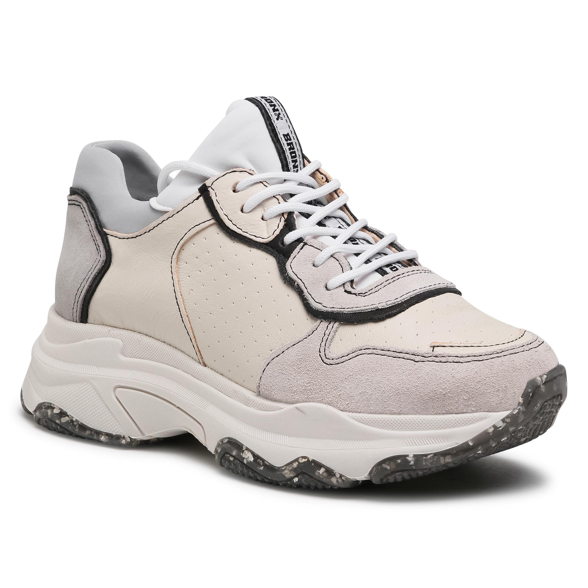 Sneakers BRONX - 66167C-As Off White/Black