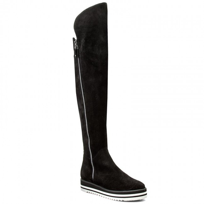 00 000 01 Solo 73201 Botas Femme 01 Mosqueteras Negro f52 QrsthCd