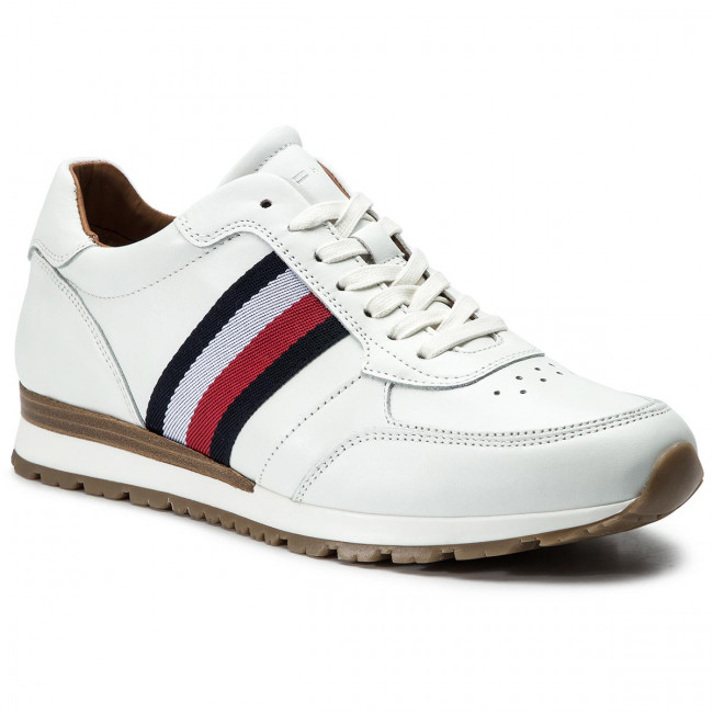 Tommy Corporate 100 Runner Hilfiger Sneakers Luxury Leather White Fm0fm00960 YmfyIvb76g