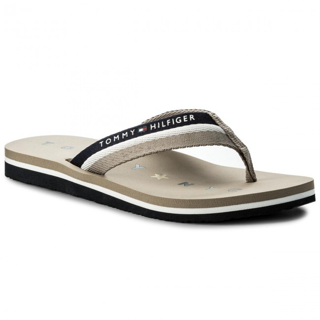 528673918ab Chanclas TOMMY HILFIGER - Tommy Loves Ny Beach Sandal FW0FW02370  Cobblestone 068