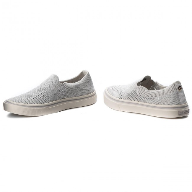 Slip Fw0fw03361 Tenis Tommy 100 Hilfiger White Light Knitted Weight On YW2EH9DI
