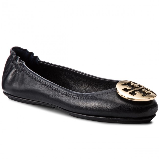 Bailarinas TORY BURCH - Minnie Travel Ballet With Metal Logo 50393 Perfect Navy/Gold 444 - Ballerinas - Zapatos - Zapatos de mujer