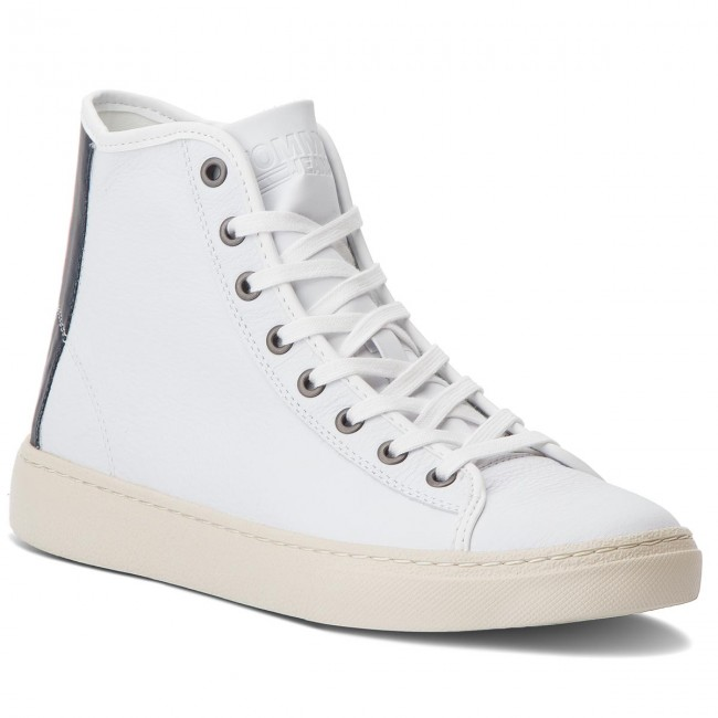 Jeans 100 Mid Light White Sneakers Em0em00104 Leather Tommy PwCfB5q