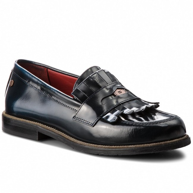 Zapatos TOMMY HILFIGER - Penny Bar Loafer FW0FW03148  Tommy Navy 406  - Zapatos planos - Zapatos - Zapatos de mujer