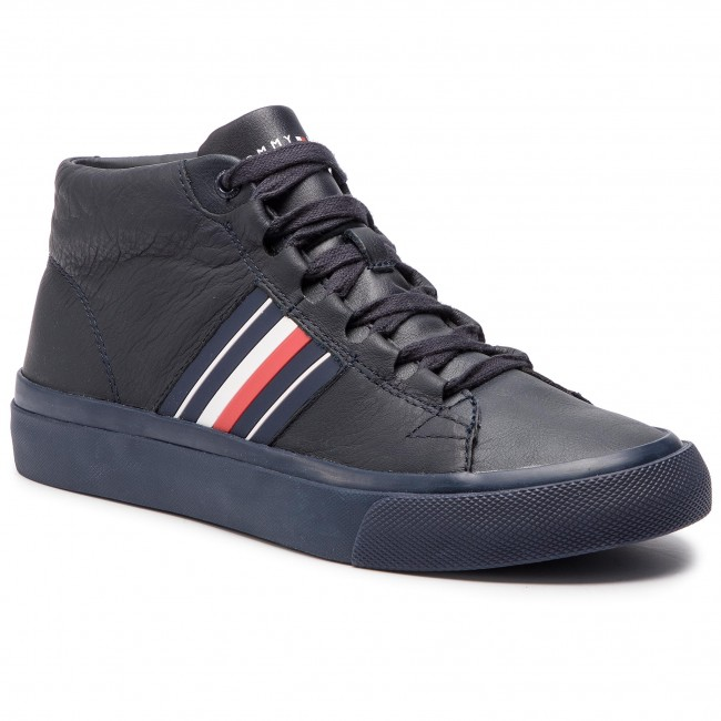 403 Sneakers Corporate Leather Hilfiger Mid Sneaker Fm0fm01942 Tommy Midnight wO8P0kNnX