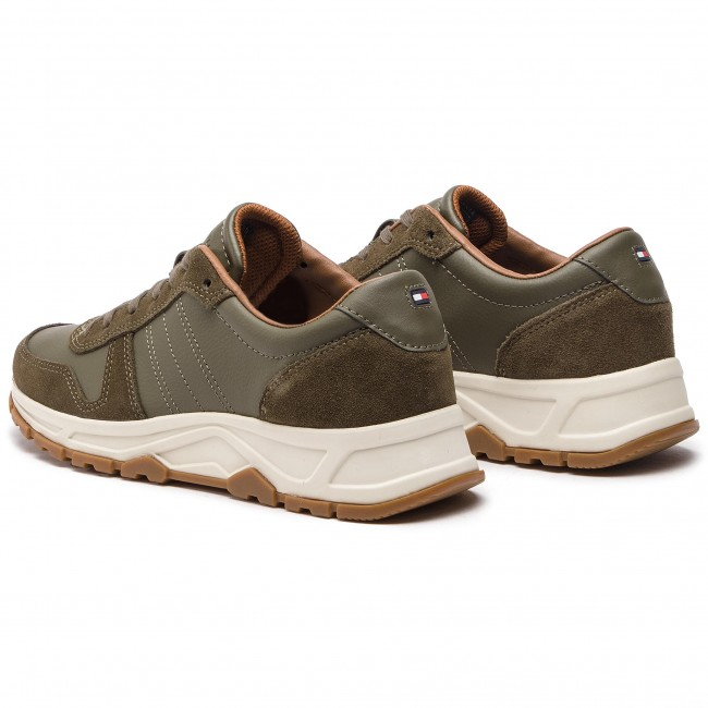 Hilfiger Runner Sneakers Lighweight Night Olive Tommy 010 Leather Fm0fm02010 WEDHI29