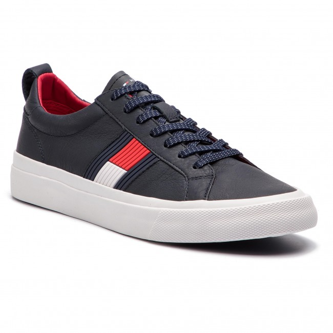 e2401a60081ce Sneakers TOMMY HILFIGER - Flag Detail Leather Sneaker FM0FM01712 Midnight  403