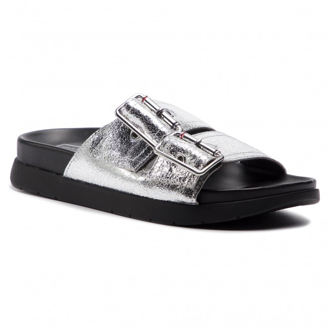Hilfiger Tommy Crackle Fw0fw03805 Silver Chanclas 000 Sandal Metallic Footbed eED9YbHWI2