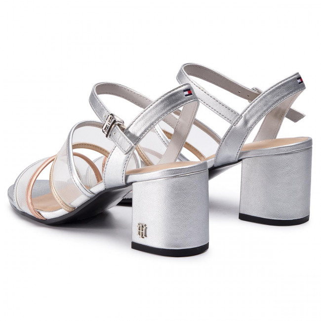 Sandalias See Hilfiger Detail Fw0fw03841 Tommy Heeled 000 Silver Sandal Through 5L4jR3A
