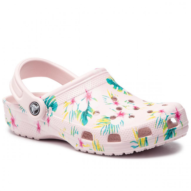 Crocs Pink Graphic Chanclas floral 205706 Classic Clog Barely Seasonal P0O8kwn