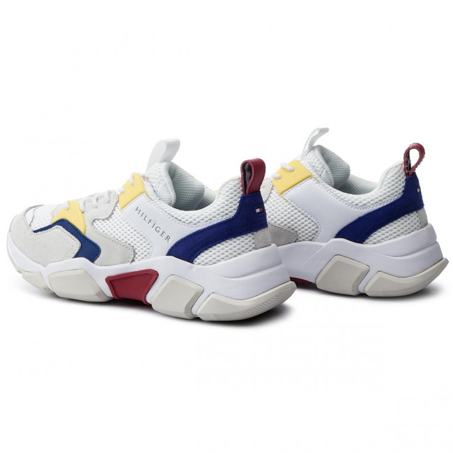 Trainer Material Sneakers Tommy Fm0fm02281 100 Hilfiger Chunky Mix White c4LS35ARjq