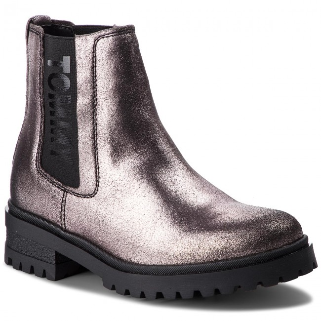 Tommy Jeans METALLIC CLEATED CHELSEA Mujer Botines Piel
