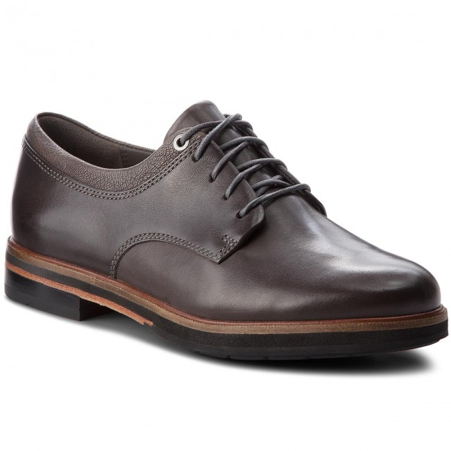 Derby Frida Grey Oxford Clarks 261379414 Leather Zapatos Dark AR5jq4L3