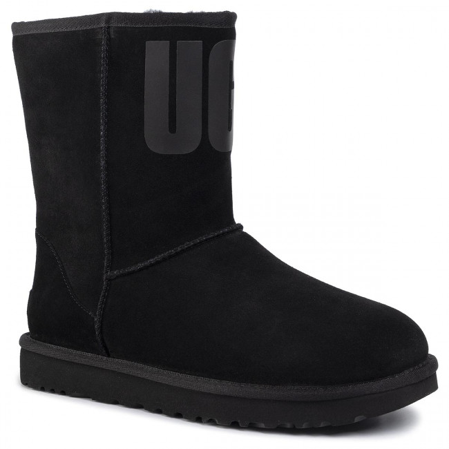 Zapatos UGG W Classic Short Ugg Rubber Logo 1108230 Blk