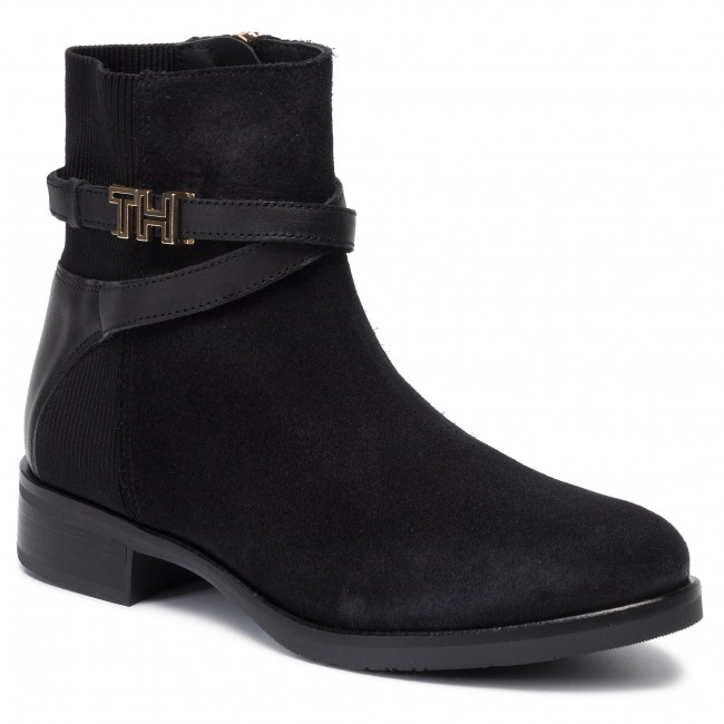 e424f646 Botas TOMMY HILFIGER - Th Hardware Suede Flat Bootie FW0FW04281 Black 990