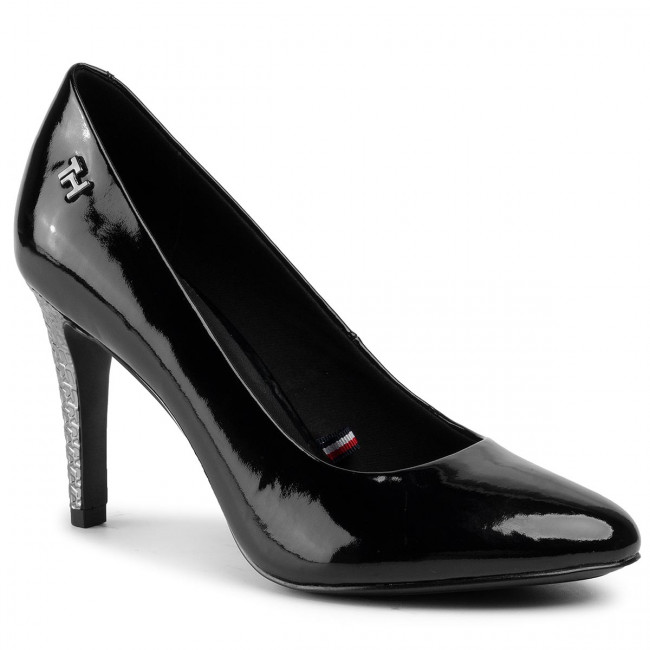 Tacón De Aguja Tommy Hilfiger - Elevated Patent High Pump Fw0fw04586 Black Bds Zapatos