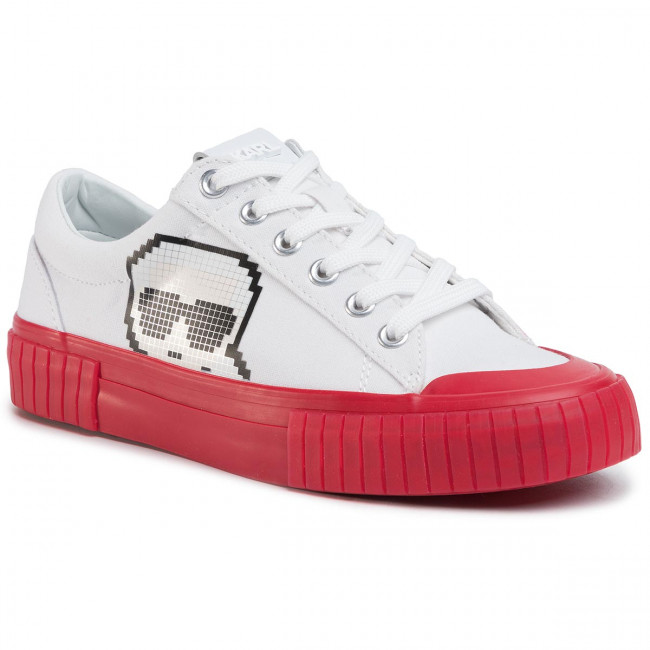 Sneakers Karl Lagerfeld - Kl60213 White Canvas W/red Zapatos