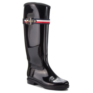 Botas de agua TOMMY HILFIGER - Corporate Belt Long FW0FW03601 Black 990 aa3177c260