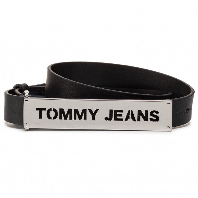 Cinturón para mujer TOMMY JEANS Thw High Waist Leather Belt 2.5 AW0AW08066 BDS Negro